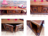 REDUCED THICK SOLID WOOD UNIT WITH 2 OPENING DOORS VERY WELL MADE AND NICE PIECE OF FURNITURE