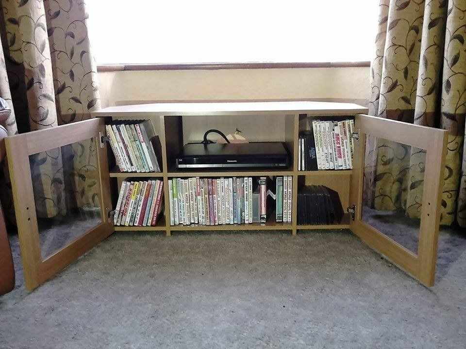 Argos Corner Tv Stand Wood Cabinet With Glass Doors