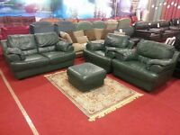 4 piece green leather suite