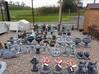 Concrete garden bird baths windmills pots lorries tractors car jcb ornaments benches statues animals