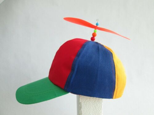 ADULT PROPELLER BEANIE HAT CLOWN COSTUME BASEBALL COPTER HELICOPTER BALL CAP