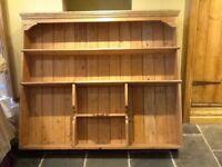 Large freestanding stripped pine dresser top shelving unit