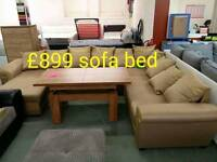 Large Gold fabric sofa bed with storage