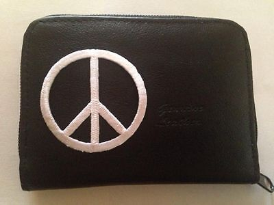 Peace Sign Design Leather Wallet Credit Card ID Holder