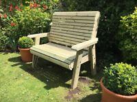 2 seater garden bench treated