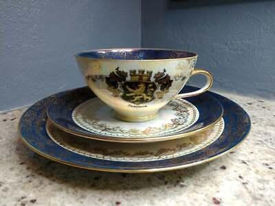 Vintage Bavarian Heidelberg Echt Gold GVD Teacup, Saucer and plate Souvenir