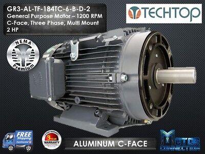 2 Hp Electric Motor Gen Purp 1200 Rpm 3-phase 184tc Aluminum Nema Premium