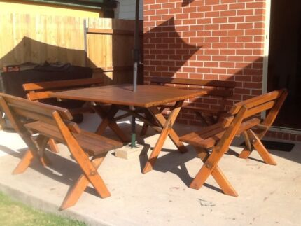 Solid timber outdoor table and chairs seats 12 Campbelltown Campbelltown Area Preview