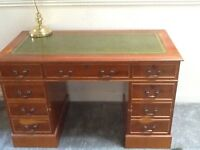 Yew wood reproduction desk with leather inlay