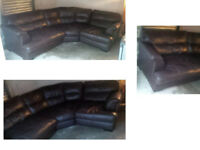 BROWN LEATHER CURVED CORNER SOFA ULTIMATE COMFORT REALLY NICE DESIGN VIEWING WELCOME