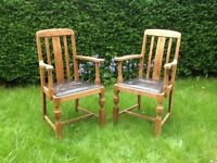Solid wood vintage dinning chairs (two)