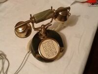 Retro push button onyx gold and cream telephone in full working order