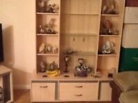 Wall unt, bookcase, tv stand, cabinet, coffee table, nest of tables, sofa & 2 armchairs