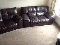 BROWN LEATHER 3 PIECE SUITE MUST GO ASAP