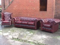LEATHER CHESTERFIELD OXBLOOD 3 PIECE SUITE STUNNING SUITE IN IMMACULATE CONDITION CAN DELIVER