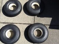 Four solid block tread mobility scooter tyres 330 x 100