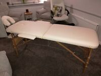White portable massage table with bag