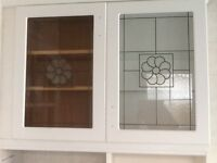 Glass wall cupboard doors 2.with flowers on glass
