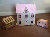 Early Learning Centre Rosebud Dolls House conservatory camper van and much more