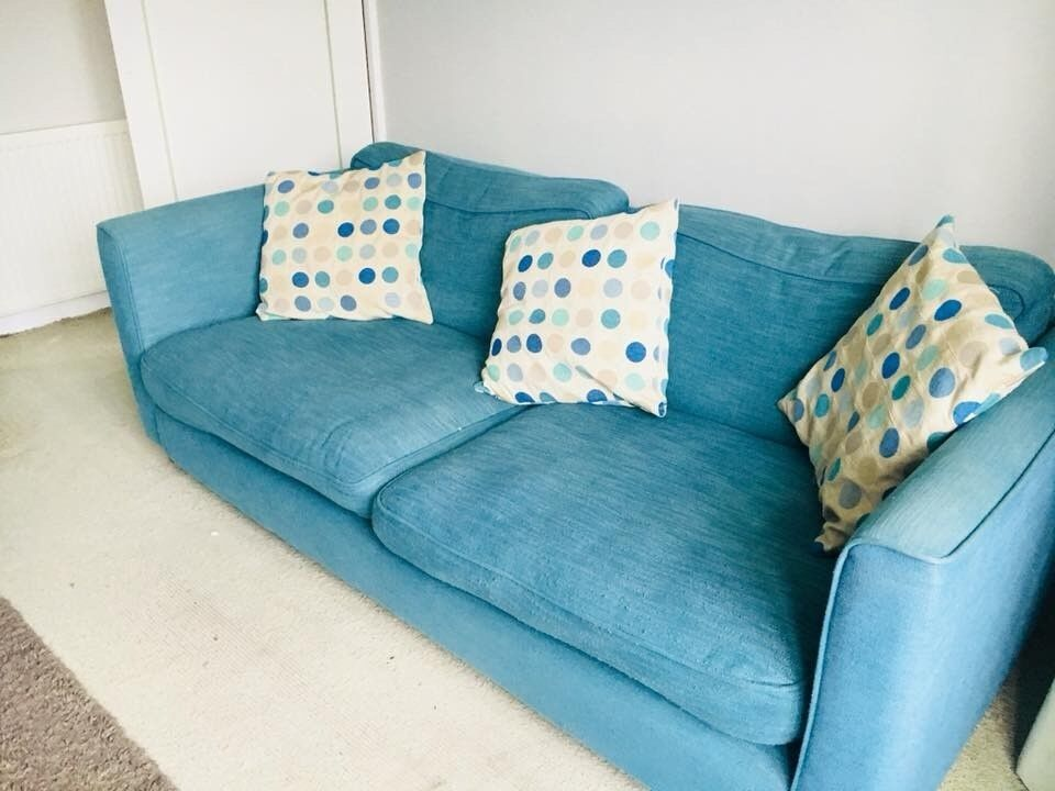 Sofa Set Teal Colour 250 For Two 1 Seater