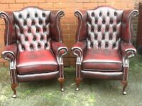 LEATHER CHESTERFIELD SOFAS AND CHAIRSWANTED TO BUY ANY COLOUR CAN COLLECT CASH WAITING TO BUY TODAY