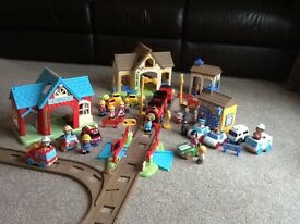Happyland train track, police/fire station bundle + characters and vehicles. As new condition.