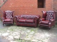 Oxblood leather chesterfield suite 2 seater and 2 Queen Anne chairs immaculate condition CAN DELIVER