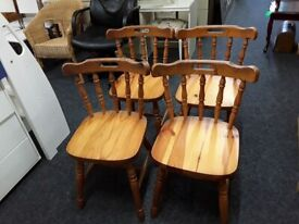 4 pine spindle dining chairs Copley Mill Low Cost Moves 2nd Hand Furniture STALYBRIDGE SK15 3DN