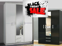 WARDROBES TALL BOY BRAND NEW WHITE OR BLACK FAST DELIVERY 4731BCUCDEE