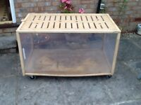 Living World wooden pet enclosure with ventilated wooden lid on wheels