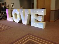 LARGE FOUR FOOT LOVE LETTERS & CANDY CART FOR HIRE