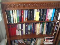 Oak bookcase and telephone table