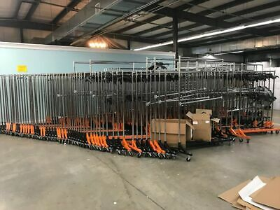 Commercial Rolling Clothing Garmet Z-rack With Nesting Base Orange