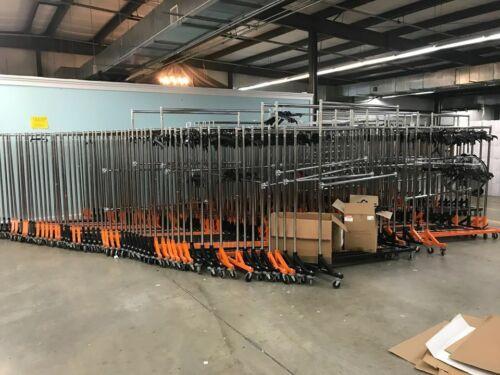 Commercial Rolling Clothing / Garment Z-Rack with Nesting Base Orange