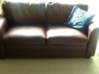Two Dark brown two seaters leather sofa from Debenham