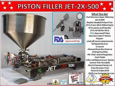 Piston Filler Double Head Jet-2x500 Fills Liquids Pastes Gels Peanut Butter