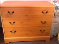 Wardrobe, chest of 3 draws, bedside cabinet