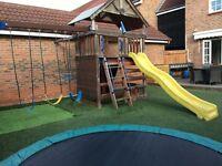 Sunray children's garden playcenter swing slide climbing wall monkey bar trapeze playhouse