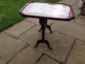 Vintage firescreen/table with tapestry