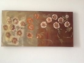 "LARGE Original Hand Painted Canvas:""Rustic Flowers""100x50cm"
