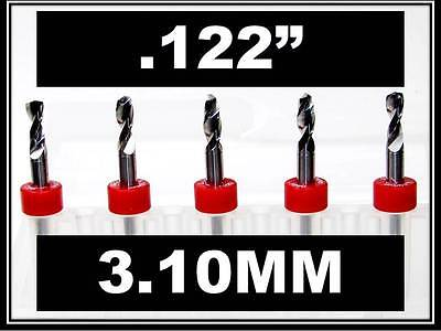 .122 - 3.10mm - 18 Shank Carbide Drill Bits Five Pcs Wood Plastic Metal Cnc R