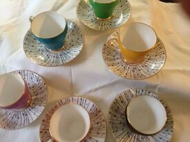 vintage 1960s Royal grafton teaset , mint condition,'pampas grass' 6 cups & saucers + sugar bowl