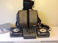 Complete Dj Kit, 2x Denon CD'j's in UDG Travel cases, Mixer, Headphones, UDG Record Bag, Mic & Amp