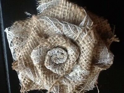 Burlap Decorations (Sweet Burlap and Lace Rose Flower with Pearl Option Wedding Table Rustic)