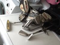 four sets of clubs one left hand and three right hand also two extra bags