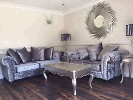 New Silver Grey 3 2 Crushed Velvet Sofas Free Delivery!