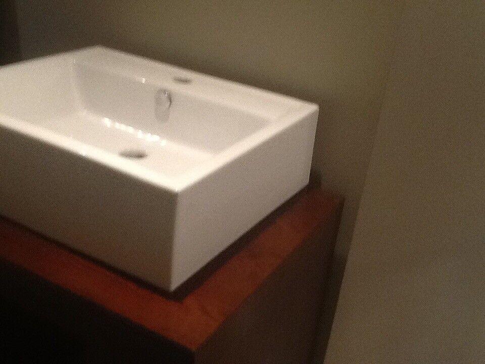 Bathroom vanity basin and mahogany base