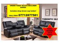 sofas in black 3 + 2 recliner