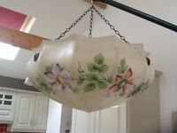 Beautiful vintage multi-coloured light bowl with chains