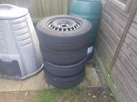 vw volkswagen transporter t5 steel wheels 5x120 with excellent tyres, good for over the winter